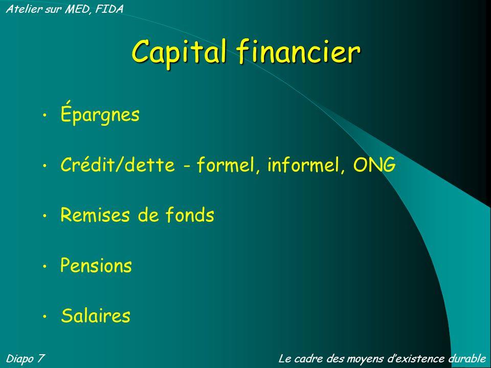 Capital financier Épargnes Crédit/dette - formel, informel, ONG Remises de fonds Pensions Salaires Diapo 7 Atelier sur MED, FIDA Le cadre des moyens dexistence durable