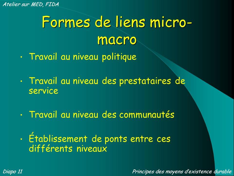Formes de liens micro- macro Travail au niveau politique Travail au niveau des prestataires de service Travail au niveau des communautés Établissement