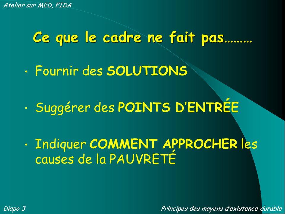 Ce que le cadre ne fait pas……… Fournir des SOLUTIONS Suggérer des POINTS DENTRÉE Indiquer COMMENT APPROCHER les causes de la PAUVRETÉ Diapo 3 Atelier