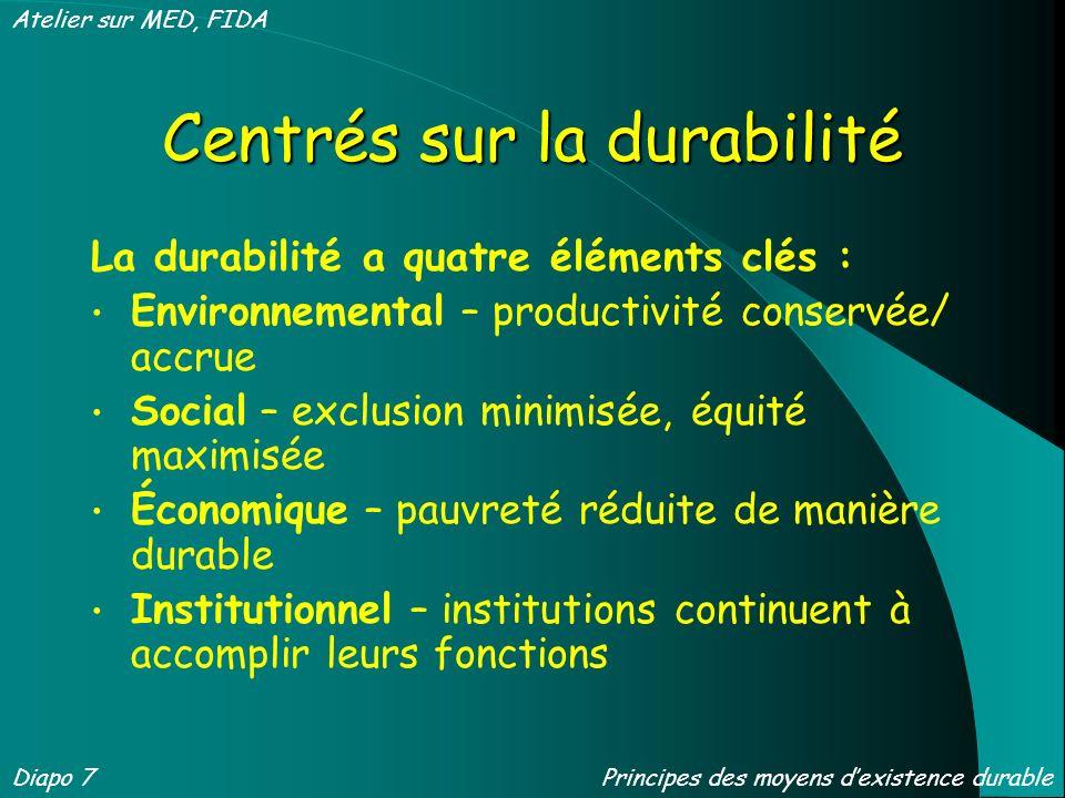 Centrés sur la durabilité La durabilité a quatre éléments clés : Environnemental – productivité conservée/ accrue Social – exclusion minimisée, équité