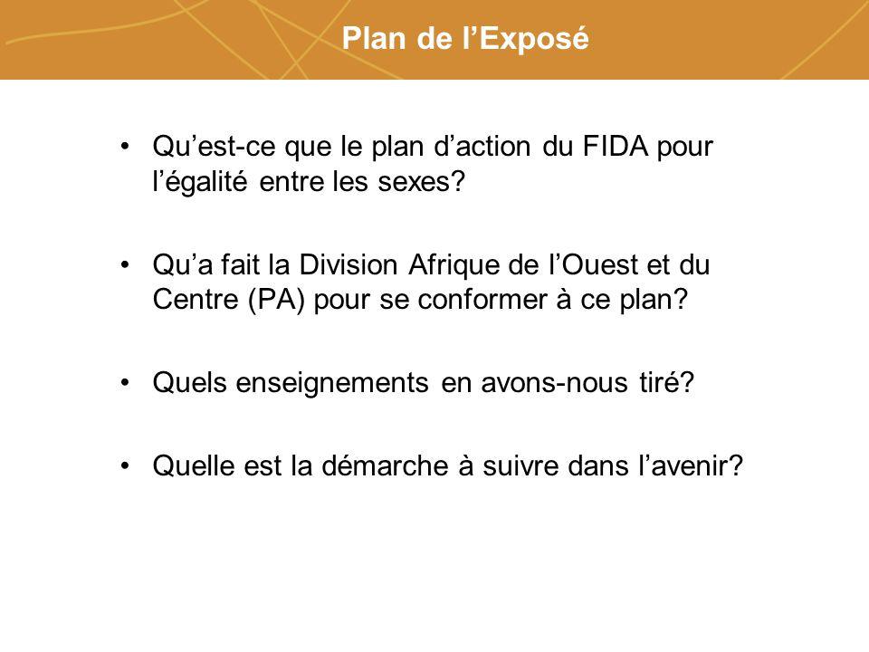 Farmers organizations, policies and markets Plan de lExposé Quest-ce que le plan daction du FIDA pour légalité entre les sexes.
