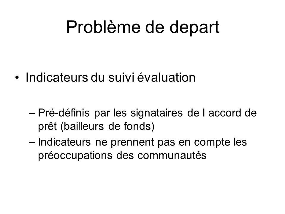 Problème de depart Indicateurs du suivi évaluation –Pré-définis par les signataires de l accord de prêt (bailleurs de fonds) –Indicateurs ne prennent