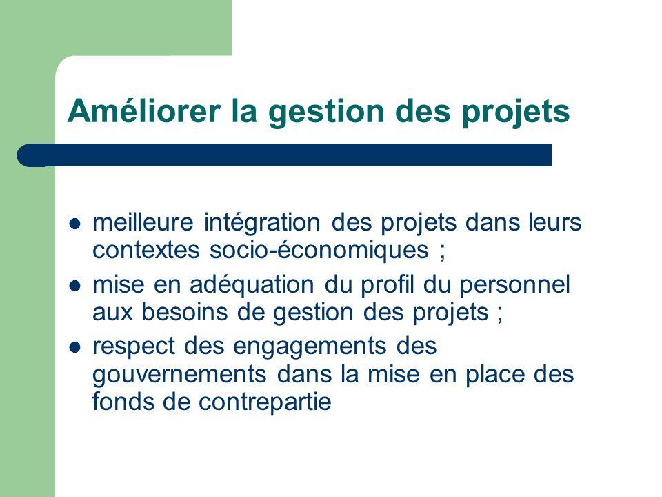 Améliorer la gestion des projets meilleure intégration des projets dans leurs contextes socio-économiques ; mise en adéquation du profil du personnel aux besoins de gestion des projets ; respect des engagements des gouvernements dans la mise en place des fonds de contrepartie