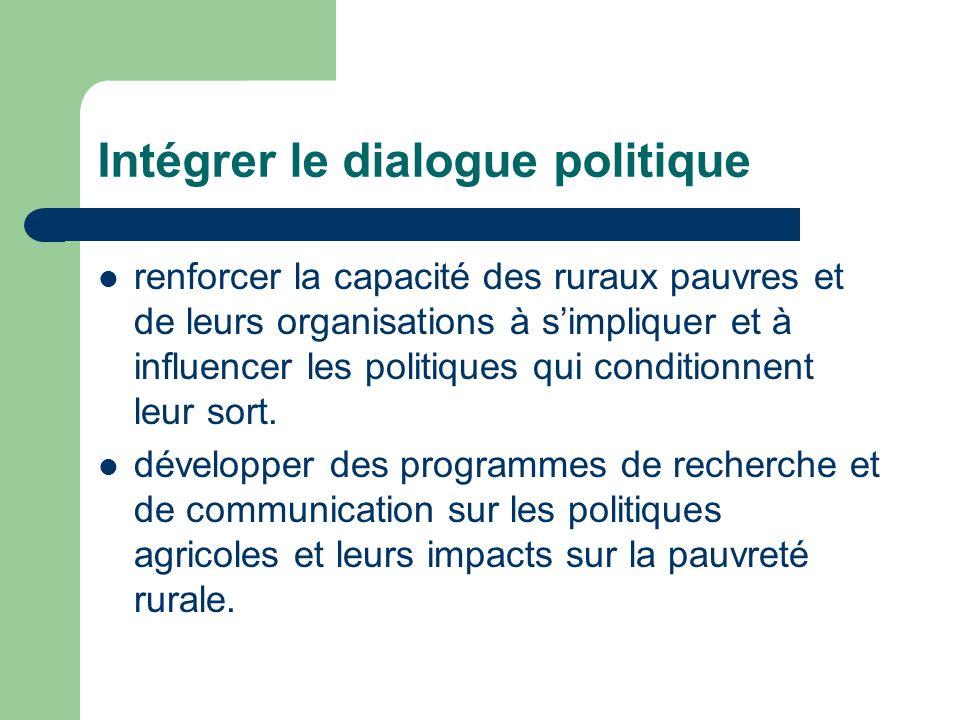 Intégrer le dialogue politique renforcer la capacité des ruraux pauvres et de leurs organisations à simpliquer et à influencer les politiques qui conditionnent leur sort.
