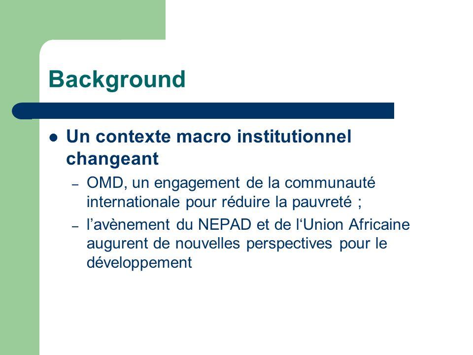 Background Un contexte macro institutionnel changeant – OMD, un engagement de la communauté internationale pour réduire la pauvreté ; – lavènement du NEPAD et de lUnion Africaine augurent de nouvelles perspectives pour le développement