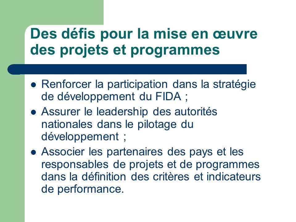 Des défis pour la mise en œuvre des projets et programmes Renforcer la participation dans la stratégie de développement du FIDA ; Assurer le leadership des autorités nationales dans le pilotage du développement ; Associer les partenaires des pays et les responsables de projets et de programmes dans la définition des critères et indicateurs de performance.
