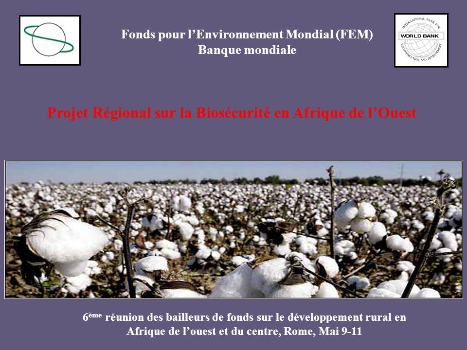Projet Régional sur la Biosécurité en Afrique de lOuest Fonds pour lEnvironnement Mondial (FEM) Banque mondiale 6 ème réunion des bailleurs de fonds s
