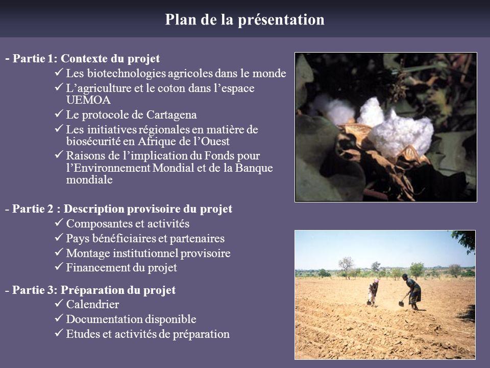 - Partie 1: Contexte du projet Les biotechnologies agricoles dans le monde Lagriculture et le coton dans lespace UEMOA Le protocole de Cartagena Les i