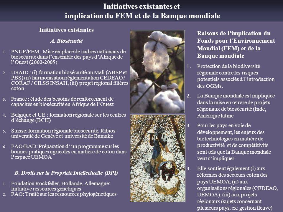 Initiatives existantes A. Biosécurité 1. PNUE/FEM : Mise en place de cadres nationaux de biosécurité dans lensemble des pays dAfrique de lOuest (2003-