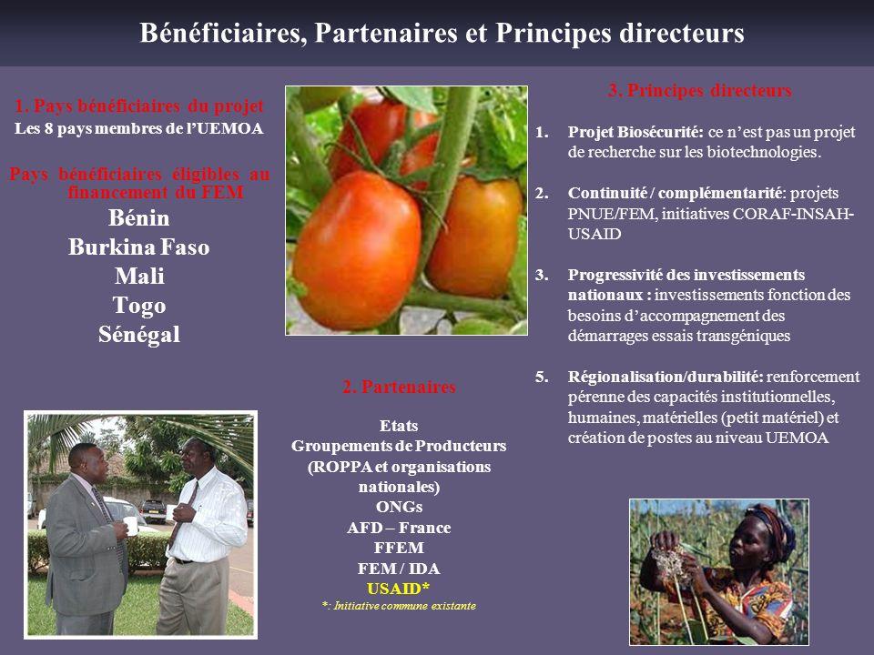 Bénéficiaires, Partenaires et Principes directeurs 2. Partenaires Etats Groupements de Producteurs (ROPPA et organisations nationales) ONGs AFD – Fran