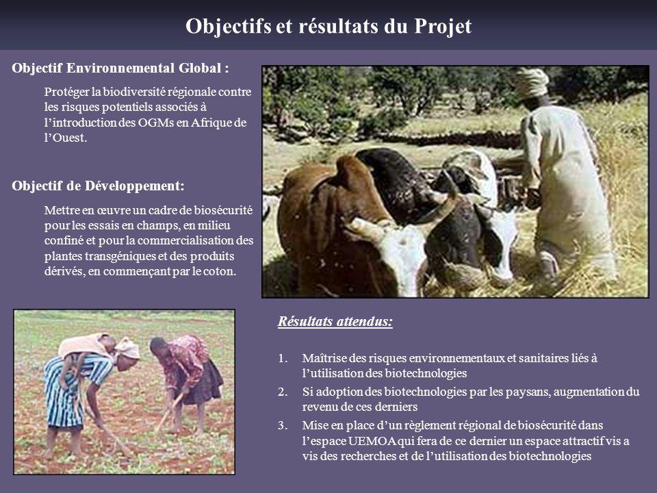 Objectifs et résultats du Projet Objectif Environnemental Global : Protéger la biodiversité régionale contre les risques potentiels associés à lintrod