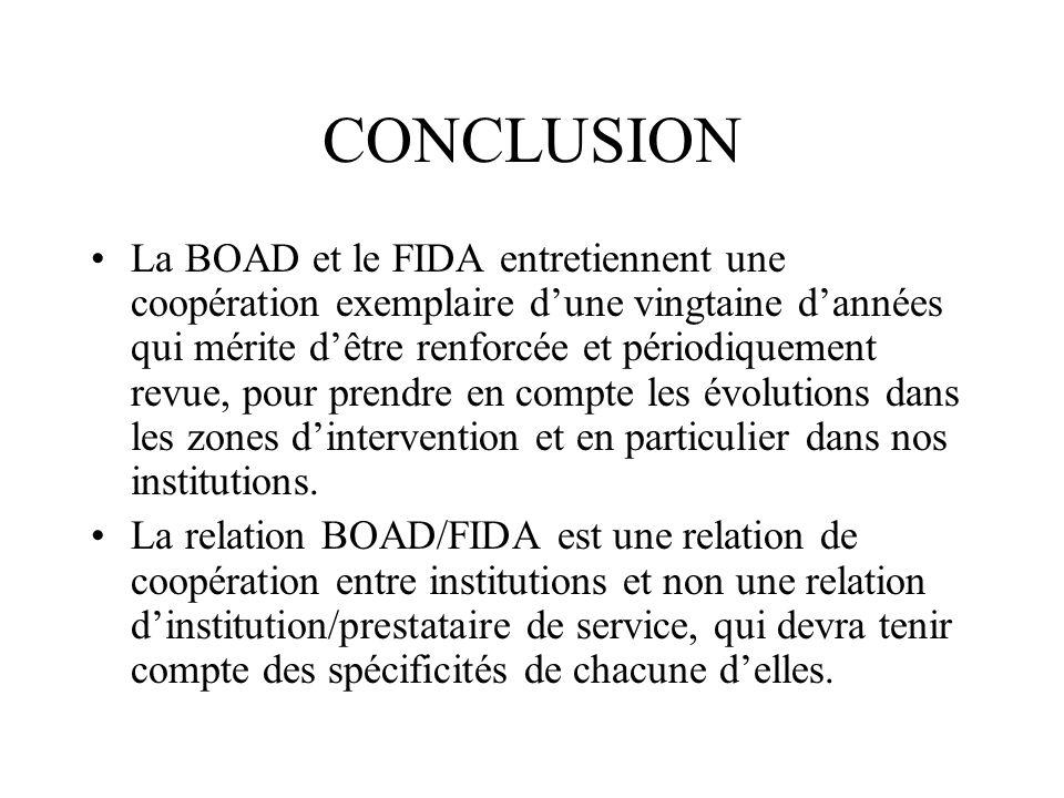CONCLUSION La BOAD et le FIDA entretiennent une coopération exemplaire dune vingtaine dannées qui mérite dêtre renforcée et périodiquement revue, pour prendre en compte les évolutions dans les zones dintervention et en particulier dans nos institutions.