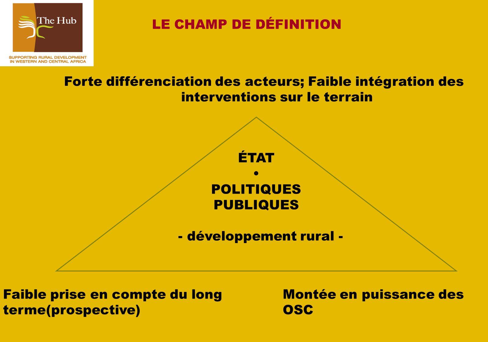 ÉTAT POLITIQUES PUBLIQUES - développement rural - Faible prise en compte du long terme(prospective) LE CHAMP DE DÉFINITION Forte différenciation des acteurs; Faible intégration des interventions sur le terrain Montée en puissance des OSC