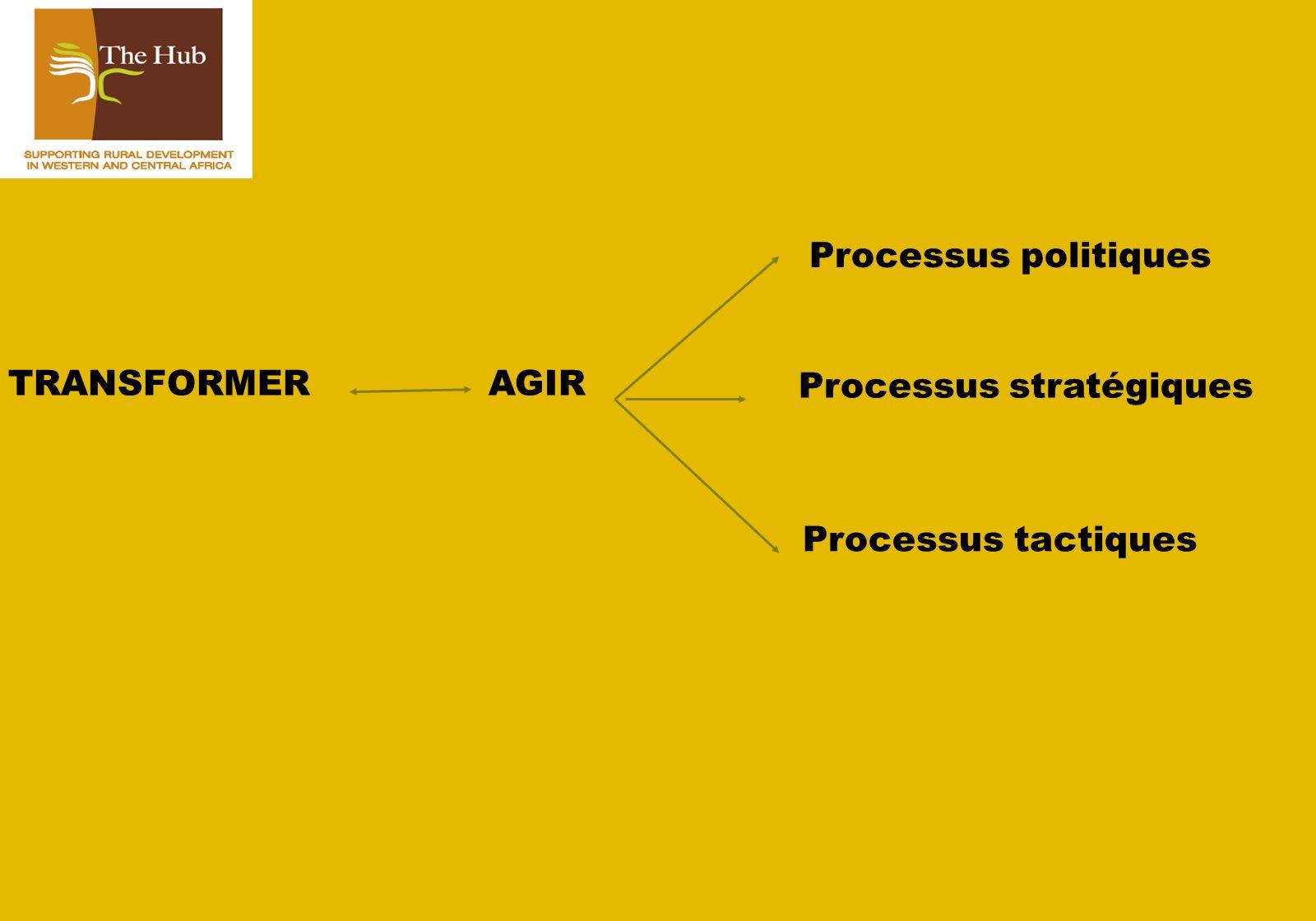 TRANSFORMERAGIR Processus politiques Processus stratégiques Processus tactiques