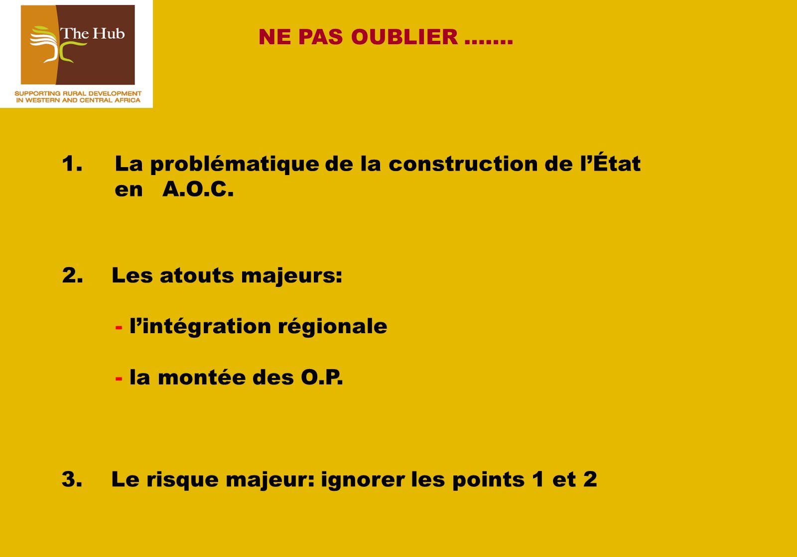NE PAS OUBLIER …….1.La problématique de la construction de lÉtat en A.O.C.