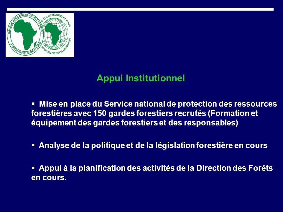 Appui Institutionnel Mise en place du Service national de protection des ressources forestières avec 150 gardes forestiers recrutés (Formation et équi