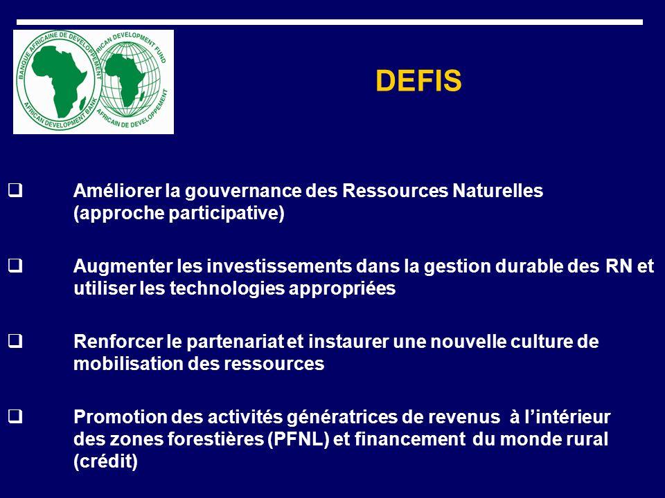 DEFIS Améliorer la gouvernance des Ressources Naturelles (approche participative) Augmenter les investissements dans la gestion durable des RN et util