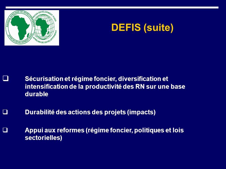 DEFIS (suite) Sécurisation et régime foncier, diversification et intensification de la productivité des RN sur une base durable Durabilité des actions