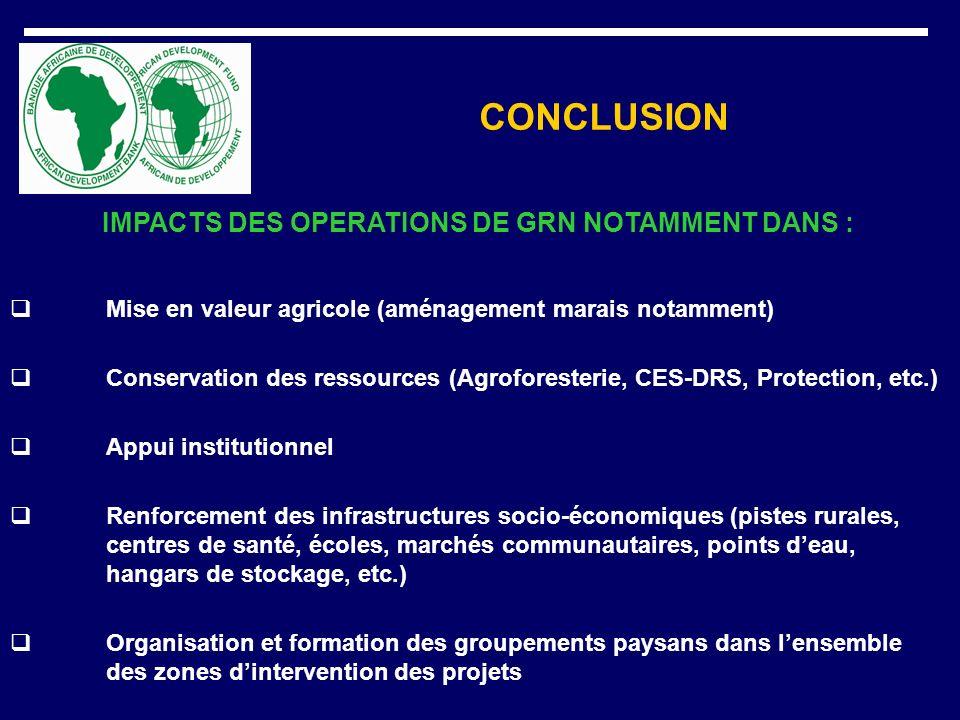 CONCLUSION IMPACTS DES OPERATIONS DE GRN NOTAMMENT DANS : Mise en valeur agricole (aménagement marais notamment) Conservation des ressources (Agrofore