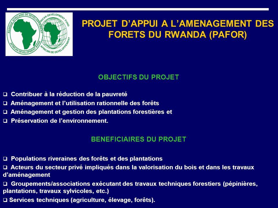 PROJET DAPPUI A LAMENAGEMENT DES FORETS DU RWANDA (PAFOR) OBJECTIFS DU PROJET Contribuer à la réduction de la pauvreté Aménagement et lutilisation rat
