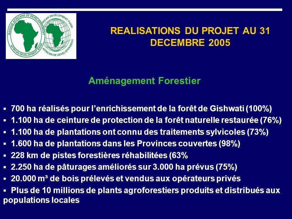 REALISATIONS DU PROJET AU 31 DECEMBRE 2005 Protection de zones sensibles 2.180 ha de collines dénudées protégés en Province de Gisenyi (73%) 277 ha de plantations aux abords des lacs de Bugesera (65%) 185 ha pour la protection de la rivière de Muvumba dans lUmutara (95%) 143 ha de vieux boisements improductifs reconvertis (71%) Formation et Promotion des activités forestières Formation de 8 cadres forestiers Voyages inter-paysans (250) Formation de 142 agri-éleveurs et 58 artisans du bois 118 millions de Frw de crédit distribués aux opérateurs de la filière