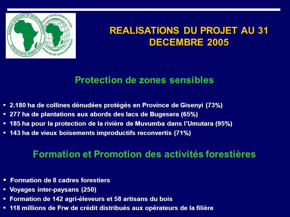 REALISATIONS DU PROJET AU 31 DECEMBRE 2005 Protection de zones sensibles 2.180 ha de collines dénudées protégés en Province de Gisenyi (73%) 277 ha de