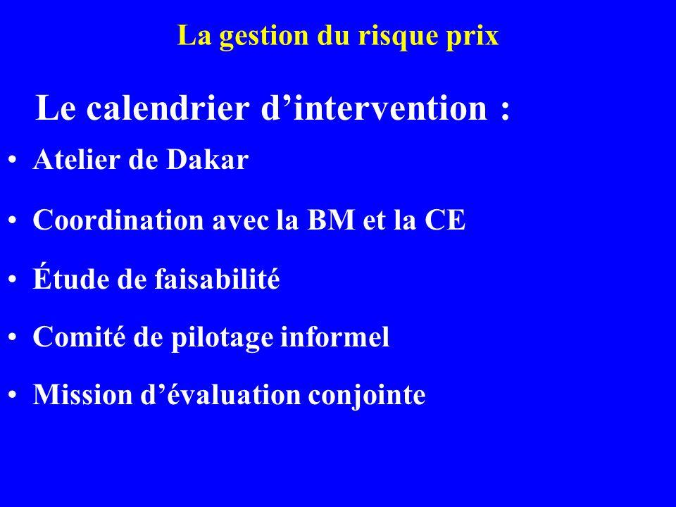 La gestion du risque prix Le calendrier dintervention : Atelier de Dakar Coordination avec la BM et la CE Étude de faisabilité Comité de pilotage informel Mission dévaluation conjointe