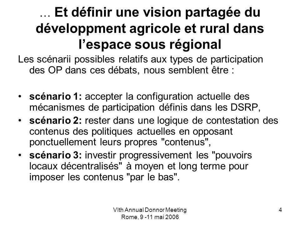 VIth Annual Donnor Meeting Rome, 9 -11 mai 2006 4 … Et définir une vision partagée du développment agricole et rural dans lespace sous régional Les sc