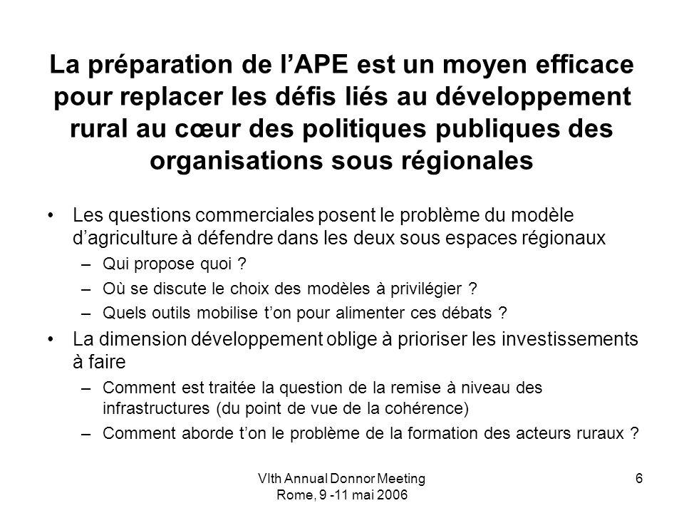 VIth Annual Donnor Meeting Rome, 9 -11 mai 2006 6 La préparation de lAPE est un moyen efficace pour replacer les défis liés au développement rural au