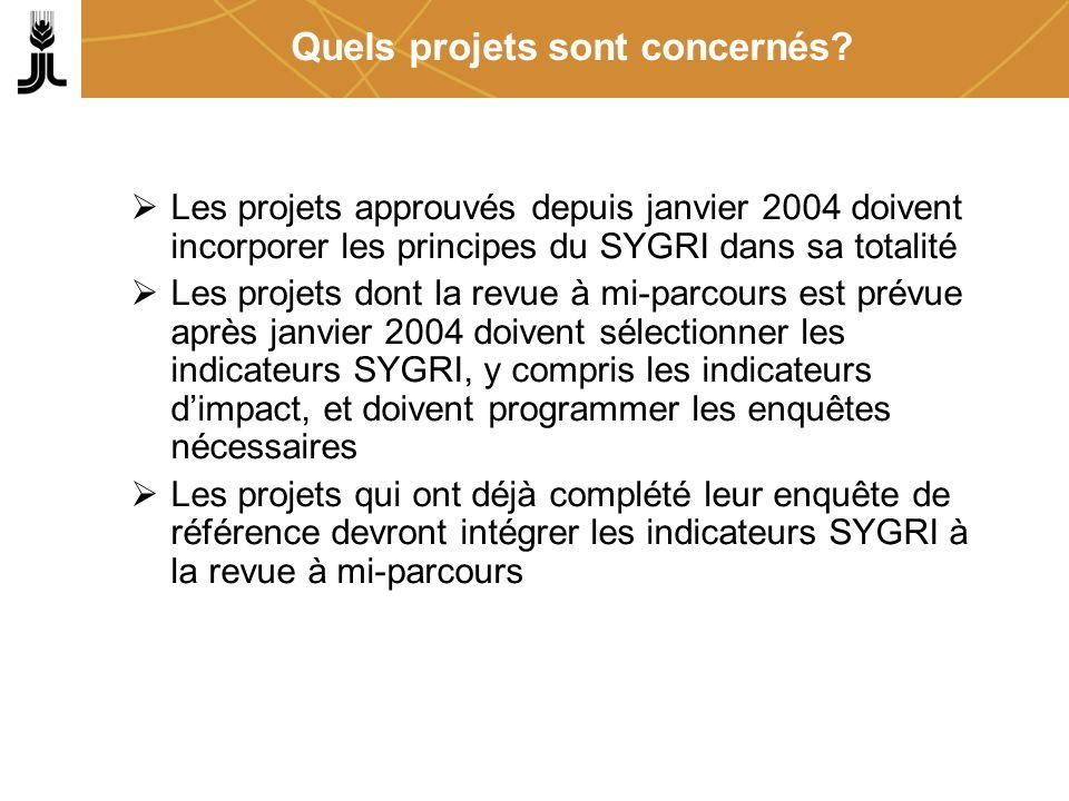 Quels projets sont concernés? Les projets approuvés depuis janvier 2004 doivent incorporer les principes du SYGRI dans sa totalité Les projets dont la