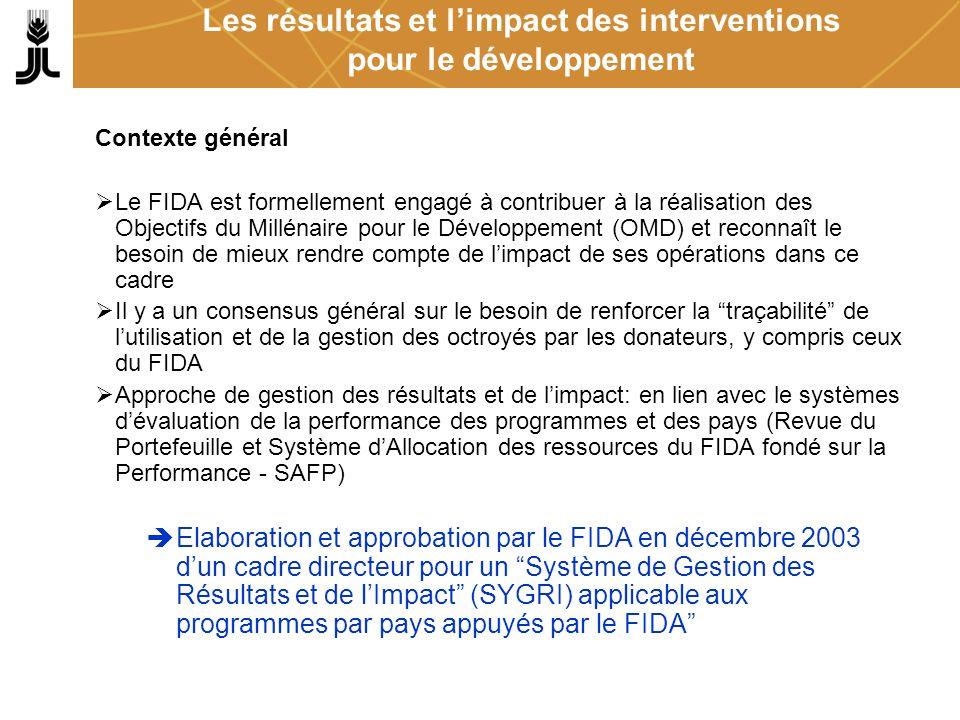 Les résultats et limpact des interventions pour le développement Contexte général Le FIDA est formellement engagé à contribuer à la réalisation des Ob