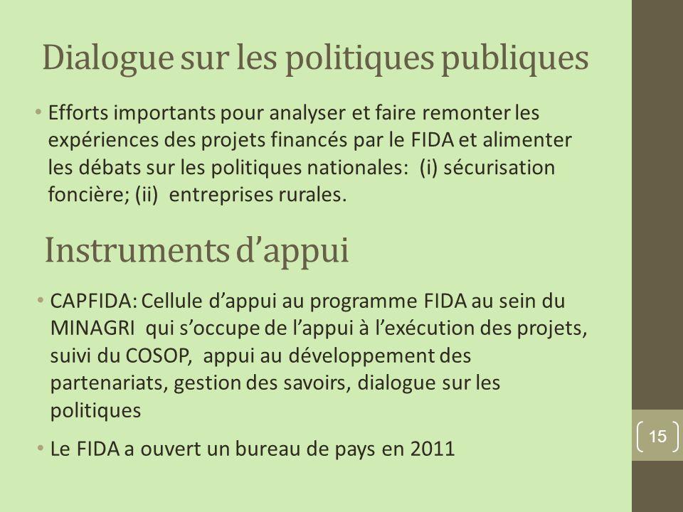 Dialogue sur les politiques publiques Efforts importants pour analyser et faire remonter les expériences des projets financés par le FIDA et alimenter les débats sur les politiques nationales: (i) sécurisation foncière; (ii) entreprises rurales.