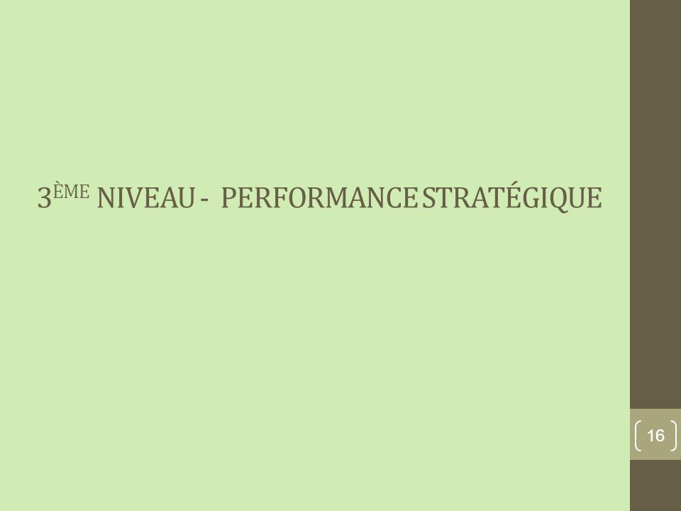 3 ÈME NIVEAU - PERFORMANCE STRATÉGIQUE 16