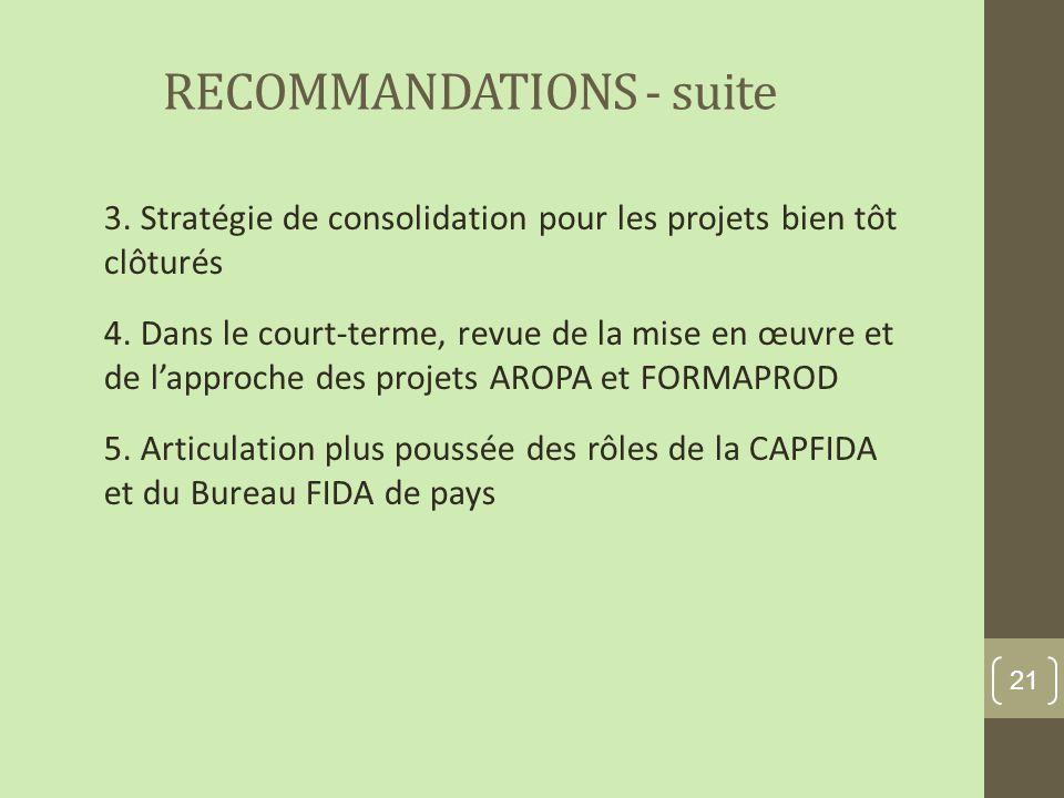 RECOMMANDATIONS - suite 3. Stratégie de consolidation pour les projets bien tôt clôturés 4.