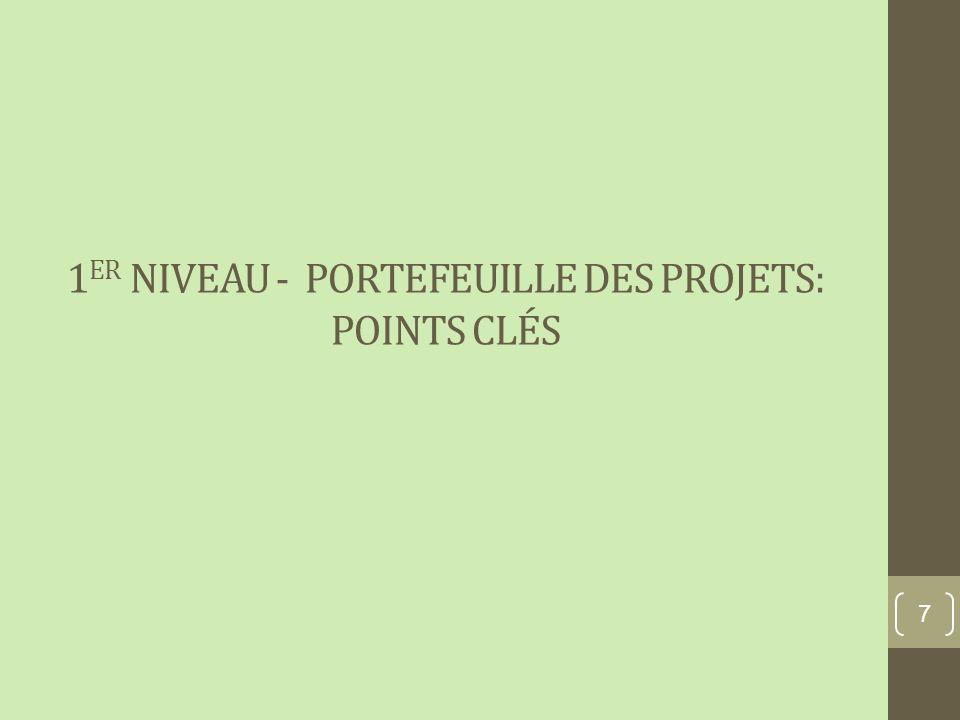 1 ER NIVEAU - PORTEFEUILLE DES PROJETS: POINTS CLÉS 7