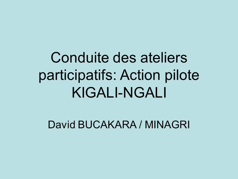 Conduite des ateliers participatifs: Action pilote KIGALI-NGALI David BUCAKARA / MINAGRI