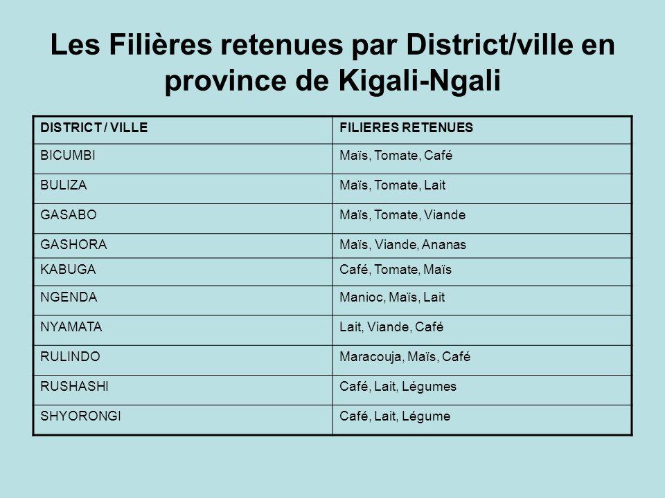 Les Filières retenues par District/ville en province de Kigali-Ngali DISTRICT / VILLEFILIERES RETENUES BICUMBIMaïs, Tomate, Café BULIZAMaïs, Tomate, Lait GASABOMaïs, Tomate, Viande GASHORAMaïs, Viande, Ananas KABUGACafé, Tomate, Maïs NGENDAManioc, Maïs, Lait NYAMATALait, Viande, Café RULINDOMaracouja, Maïs, Café RUSHASHICafé, Lait, Légumes SHYORONGICafé, Lait, Légume