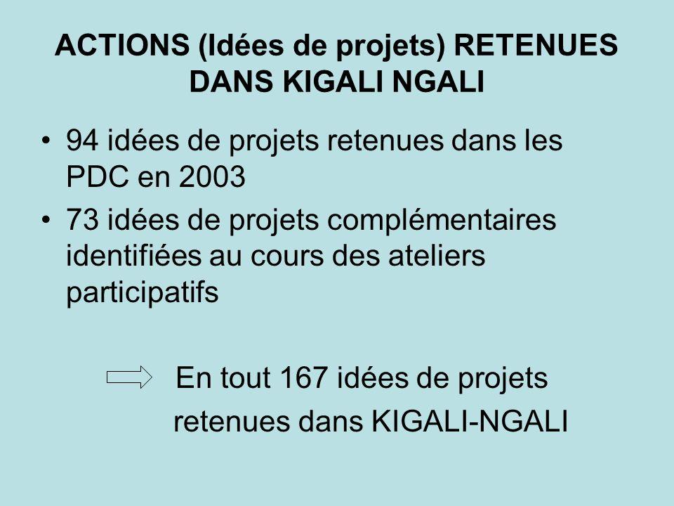 ACTIONS (Idées de projets) RETENUES DANS KIGALI NGALI 94 idées de projets retenues dans les PDC en 2003 73 idées de projets complémentaires identifiée