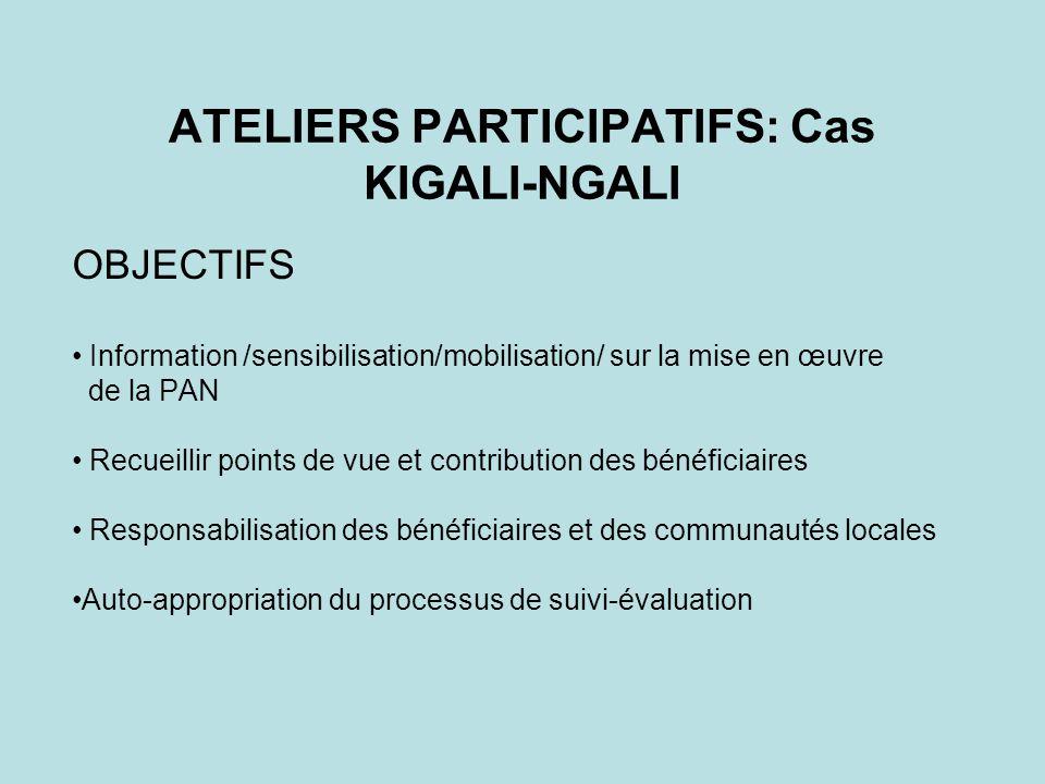 ATELIERS PARTICIPATIFS: Cas KIGALI-NGALI OBJECTIFS Information /sensibilisation/mobilisation/ sur la mise en œuvre de la PAN Recueillir points de vue et contribution des bénéficiaires Responsabilisation des bénéficiaires et des communautés locales Auto-appropriation du processus de suivi-évaluation
