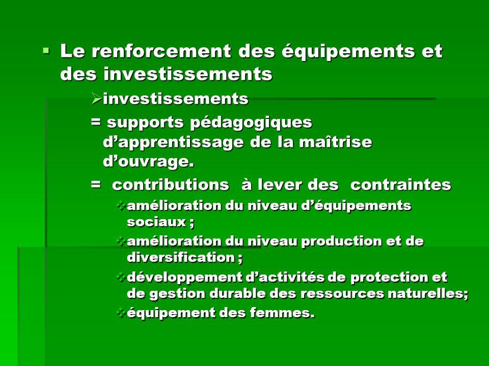 Le renforcement des équipements et des investissements Le renforcement des équipements et des investissements investissements investissements = supports pédagogiques dapprentissage de la maîtrise douvrage.