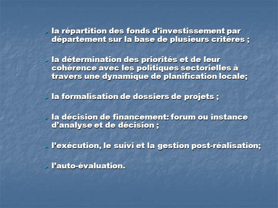 la répartition des fonds dinvestissement par département sur la base de plusieurs critères ; la répartition des fonds dinvestissement par département sur la base de plusieurs critères ; la détermination des priorités et de leur cohérence avec les politiques sectorielles à travers une dynamique de planification locale; la détermination des priorités et de leur cohérence avec les politiques sectorielles à travers une dynamique de planification locale; la formalisation de dossiers de projets ; la formalisation de dossiers de projets ; la décision de financement: forum ou instance danalyse et de décision ; la décision de financement: forum ou instance danalyse et de décision ; lexécution, le suivi et la gestion post-réalisation; lexécution, le suivi et la gestion post-réalisation; lauto-évaluation.
