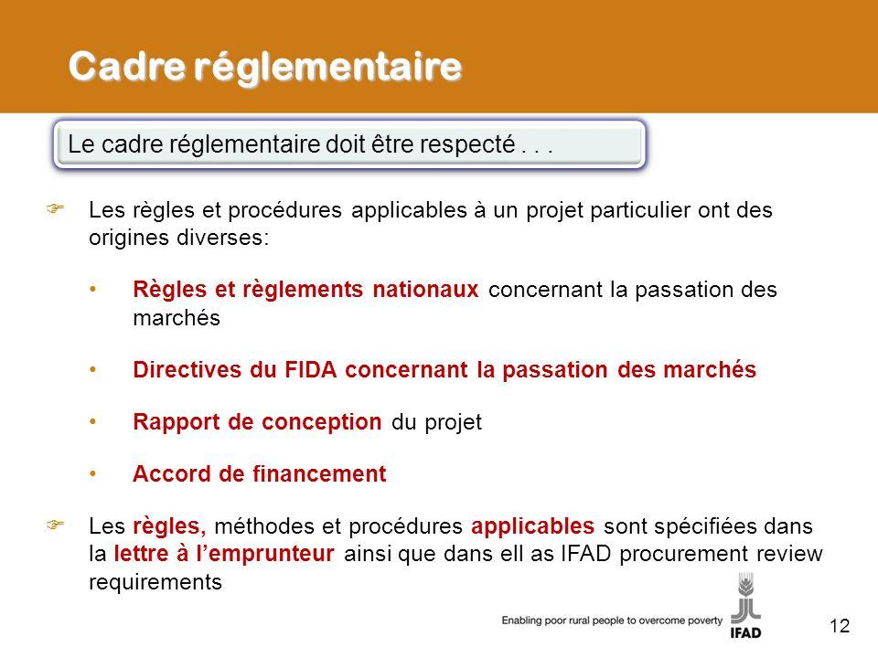 Cadre réglementaire Les règles et procédures applicables à un projet particulier ont des origines diverses: Règles et règlements nationaux concernant