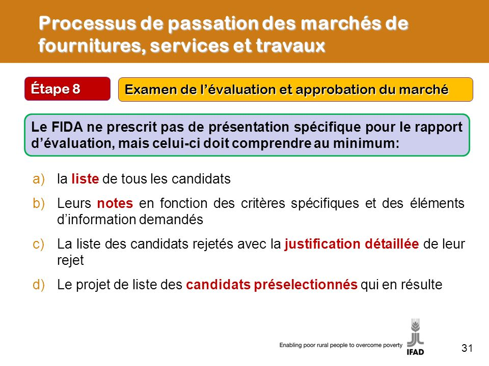 Étape 8 Examen de lévaluation et approbation du marché Processus de passation des marchés de fournitures, services et travaux Le FIDA ne prescrit pas