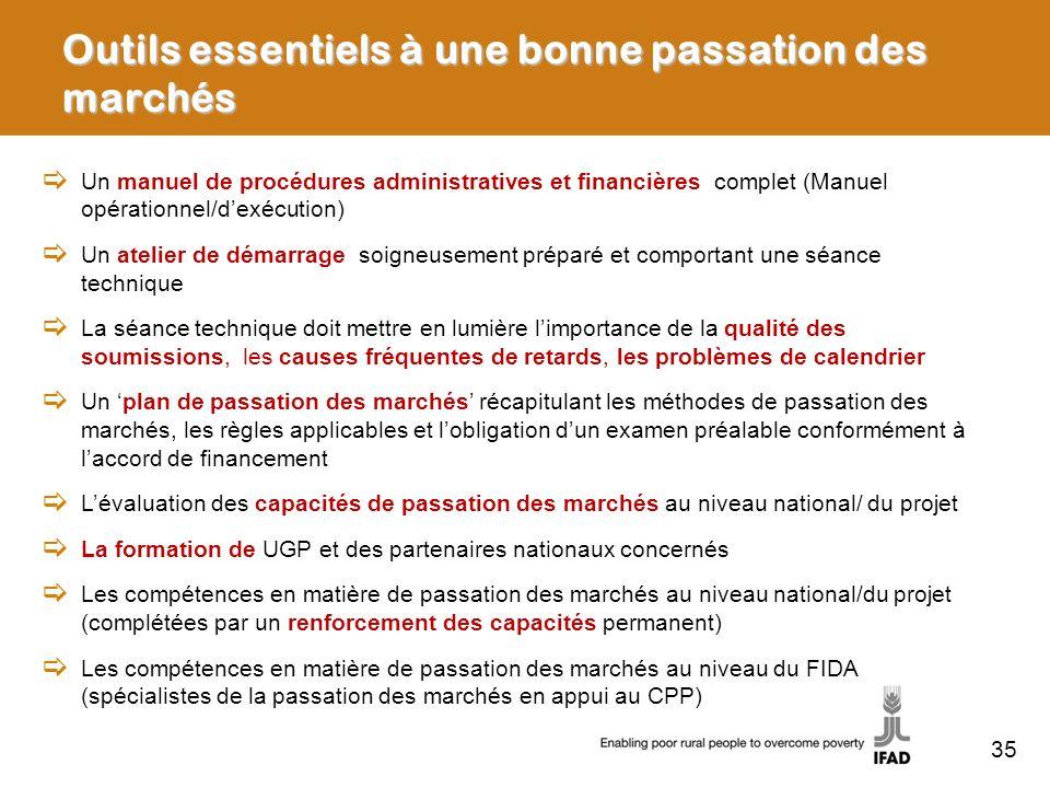 Outils essentiels à une bonne passation des marchés Un manuel de procédures administratives et financières complet (Manuel opérationnel/dexécution) Un
