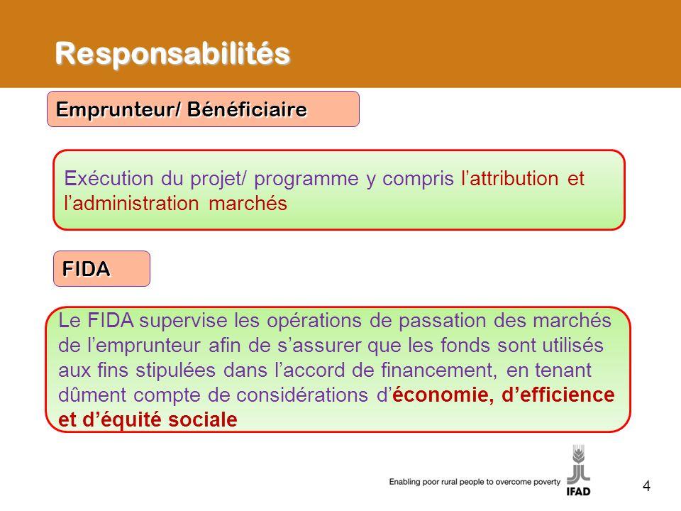 Responsabilités Exécution du projet/ programme y compris lattribution et ladministration marchés Emprunteur/ Bénéficiaire Le FIDA supervise les opérat