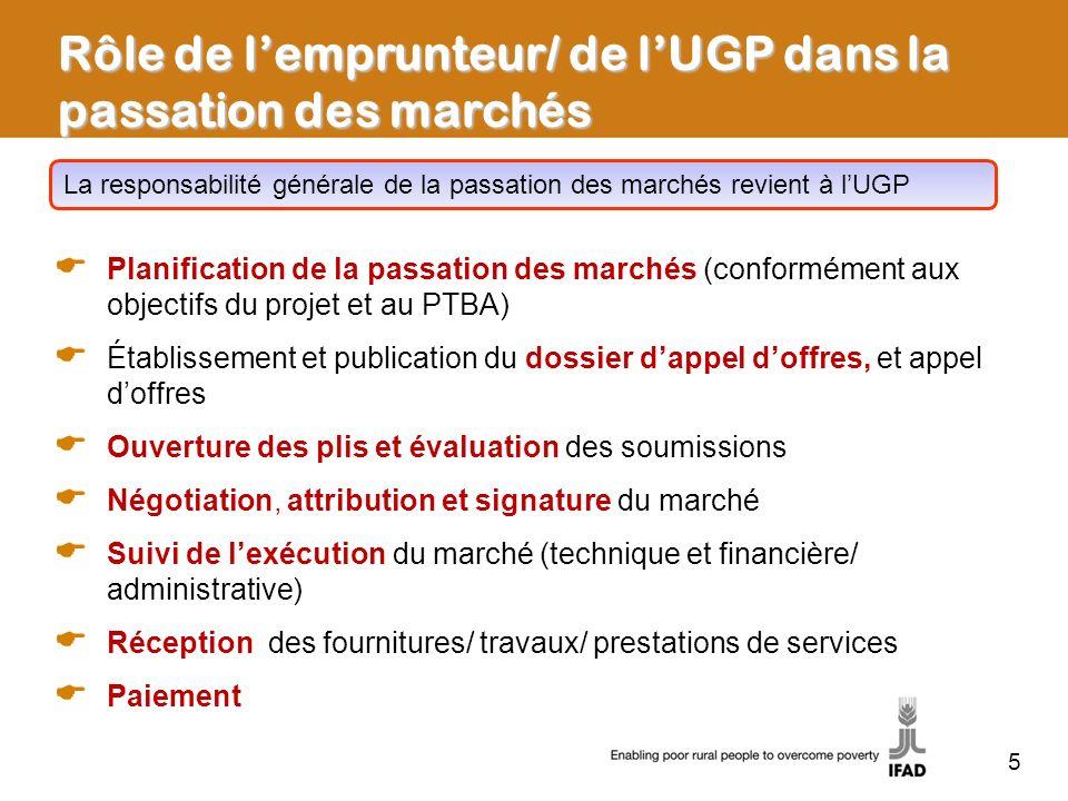 Rôle de lemprunteur/ de lUGP dans la passation des marchés Planification de la passation des marchés (conformément aux objectifs du projet et au PTBA)