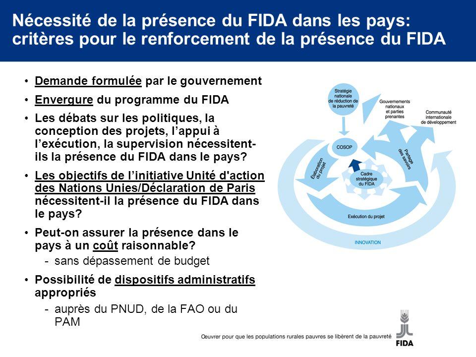 Nécessité de la présence du FIDA dans les pays: critères pour le renforcement de la présence du FIDA Demande formulée par le gouvernement Envergure du