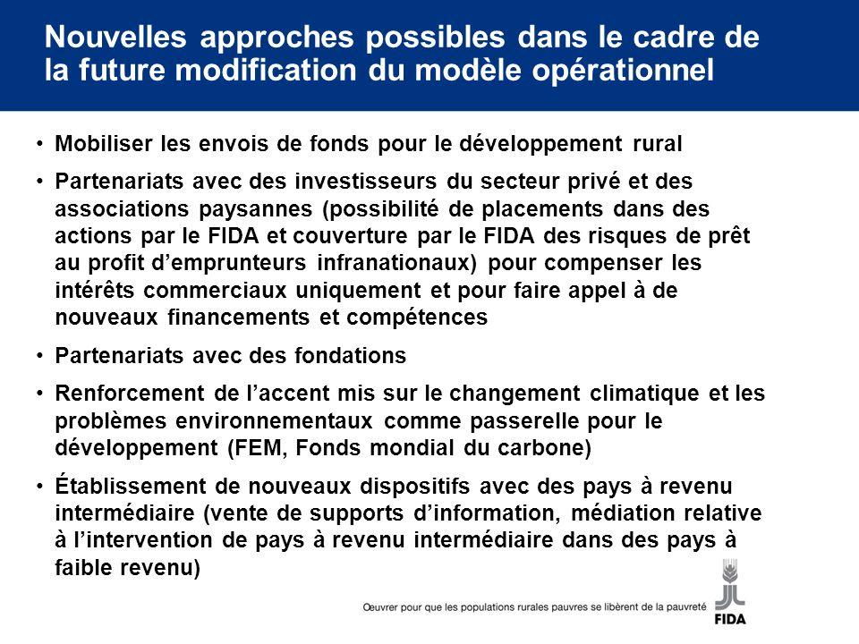 Nouvelles approches possibles dans le cadre de la future modification du modèle opérationnel Mobiliser les envois de fonds pour le développement rural