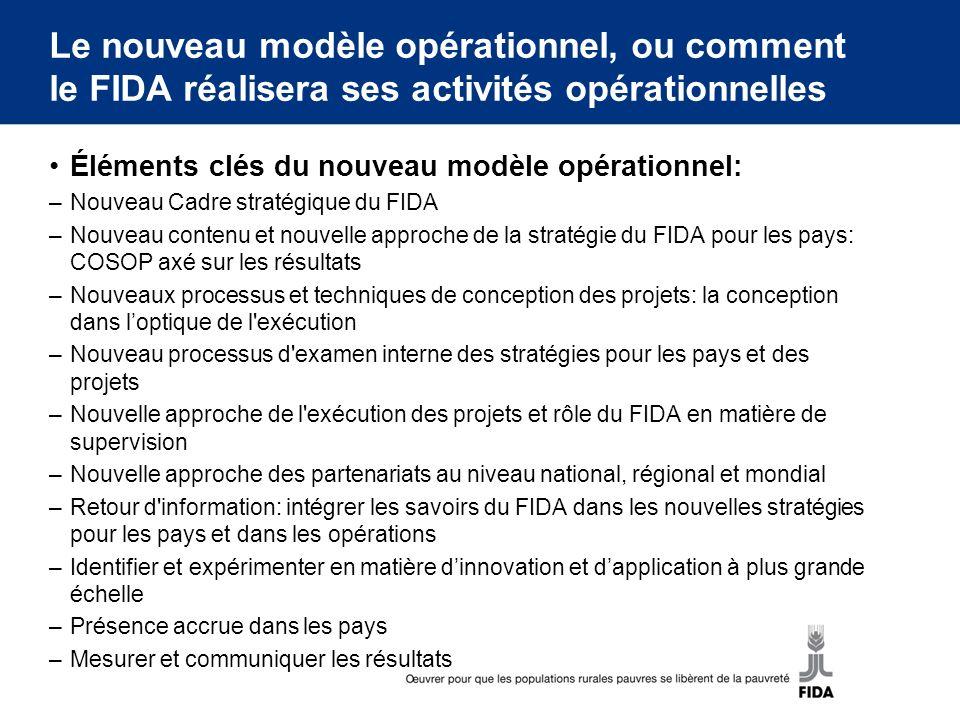 Le nouveau modèle opérationnel, ou comment le FIDA réalisera ses activités opérationnelles Éléments clés du nouveau modèle opérationnel: –Nouveau Cadr