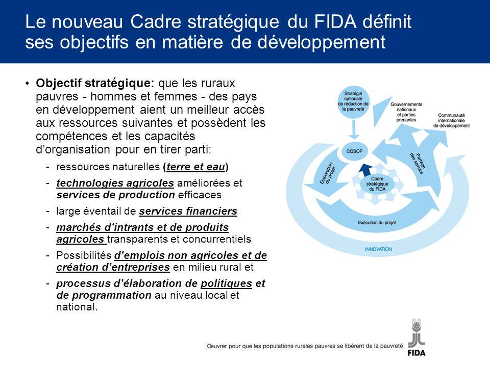 Le nouveau Cadre stratégique du FIDA définit ses objectifs en matière de développement Objectif stratégique: que les ruraux pauvres - hommes et femmes